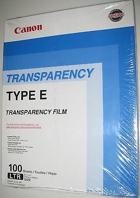 Canon Transparency Film Type E - Factory Sealed Box of 100 LTR  Size Genuine