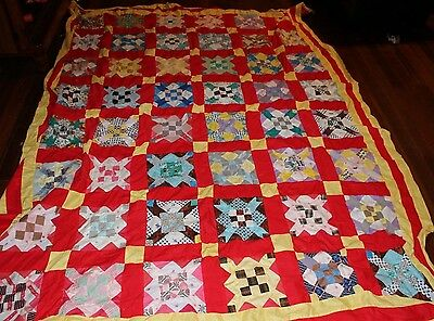 """HAND QUILTED~ QUILT TOP~ 110""""  x 82"""""""