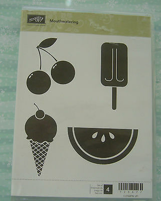 Stampin' Up Mouthwatering rare retired clear stamp set - excellent condition