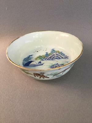Antique Chinese Qing Porcelain Scenic Small Bowl