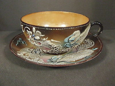 Vintage Iridescent Raised Moriage Dragon Ware Teacup & Saucer Made In Japan