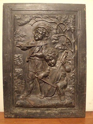 """Antique """"Children Playing Music"""" Cast Iron Summer Fireplace Cover  violin cello"""
