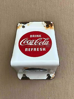 Old Coca-Cola Outdoor Porcelain Coated Wall Mount Advertising Soda Bottle Opener