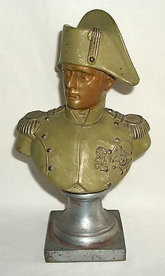 Vintage Painted Metal Napoleon Bust Statue Spelter White Metal
