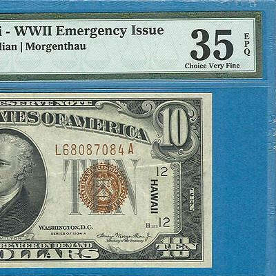 $10.1934-A Hawaii Brown Seal  Federal Reserve Note Pmg Certified Vf35Epq
