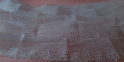 Antique/Collectible Scalloped Edging w/ Embroidered Florals Possibly Organza?