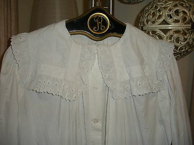 Antique French Fine Eyelette Lace Nightdress Gown 2XL 1880
