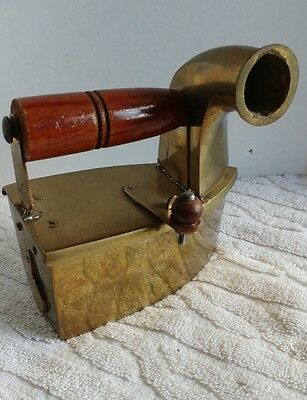 Vintage Brass Coal Steam Sad Iron with Wood Handles and Latch  UNUSED