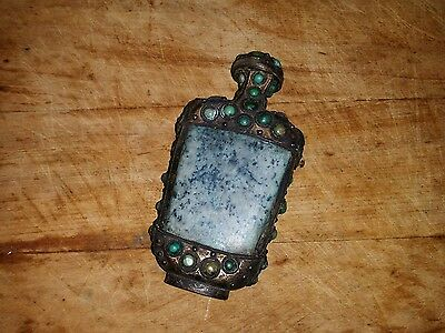 antique CHINA SNUFF BOTTLE green stones