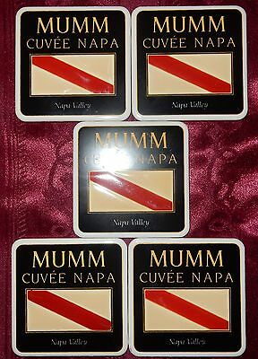 5 x MUMM Cuvée NAPA VALLEY THICK Ceramic WINE Beer COASTERS Cuvee Champagne VGC