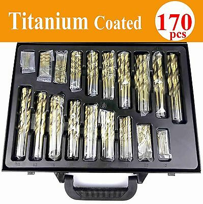 Toolrock 170pcs HSS TiN Titanium Coated Quality Drill Bits Set in Metal Case