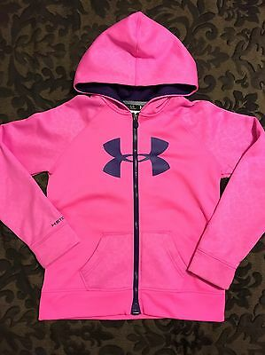 Girls Youth Under Armour Pink Hoodie Sweatshirt Zip Up Youth Large