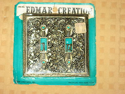EDMAR Hammered Metal Ornate Light Cover 2 Switch Plate