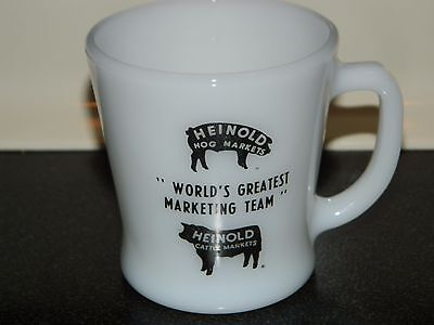 Vintage Heinold Hog and Cattle Markets Fire King milk glass coffee mug Iowa
