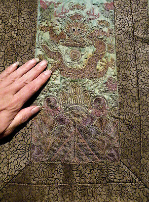 Antique 19thc Chinese Silk Imperial Dragon Robe Embroidered Ching Qing Dynasty