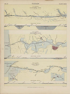 Three Great Canals including the Suez. Encyclopaedia Britannica Map. 1877.