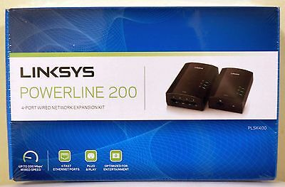 NEW Linksys PLSK400-NP Powerline AV200 4-Port Network Adapter Kit 100% SELLER