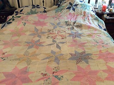 Vintage 1930's FEED SACK- Old Cottons 8 Point STARS Design Quilt TOP - PINK Base