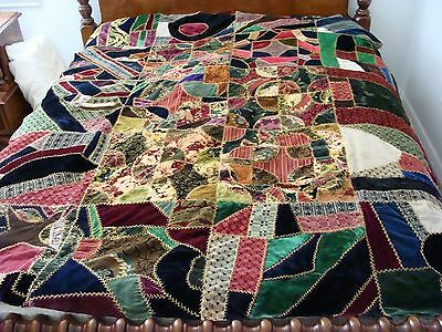 OLD Velvet Crazy Quilt Top Hand Quilted and Stitched 64 x 78
