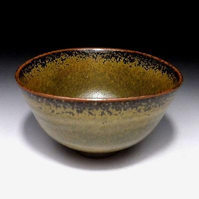 YK5 Vintage Japanese hand-shaped pottery tea bowl, Tanba Ware, Grass green glaze