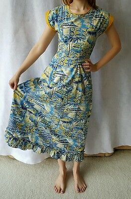 VINTAGE 1940s Dress Original by HALE HAWAII Blue Floral Fitted Women's Sz XS/S