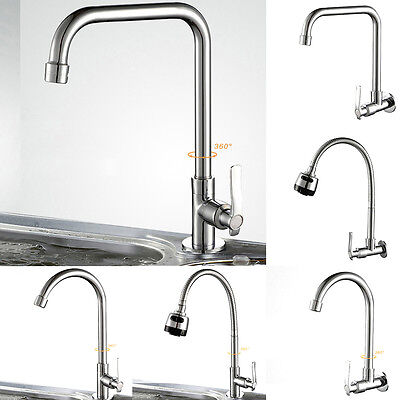 UK Modern Chrome Kitchen Cold Water Faucet Wash Basin Sink Tap Single Lever New