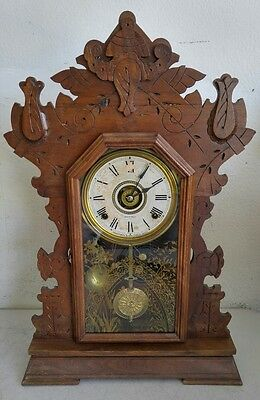 Antique 1880s SETH THOMAS Gingerbread Kitchen/Mantle/Parlor Clock - WATCH VIDEO