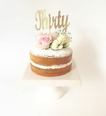 'THIRTY' GOLD Glitter Cake Topper, 30th Birthday Party 30 Topper Decoration