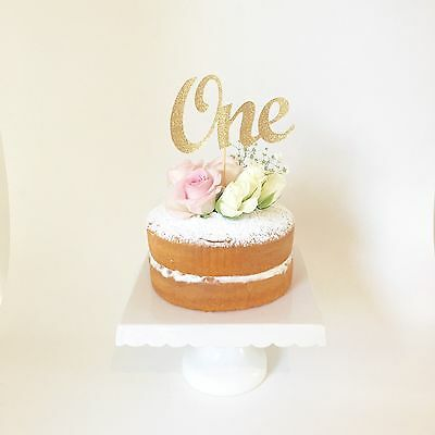 ONE Gold Glitter CAKE TOPPER - 1st Birthday Party cake smash decoration
