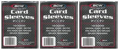 """Bcw 300 Card Sleeves 2 5/8"""" X 3 5/8"""" 3 New Sealed Packages No Pvc Sealed New"""