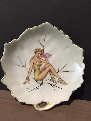 50s Glamour Girl Design Leaf Shaped  Pin Dish 10cm