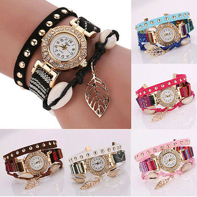 Casual Women's Watch Crystal Stainless Steel Leather Analog Quartz Wrist Watch
