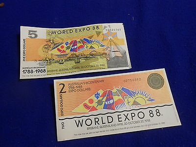 AUSTRALIA WORLD EXPO 88 ENGRAVED NOTES - UNC - PAIR Of  NOTES ($2 / $5)