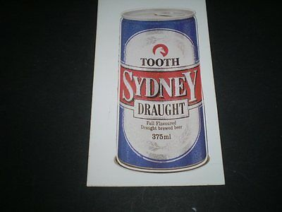 Vintage beer sticker  19 by 9 cms  -  Tooth Sydney Draught