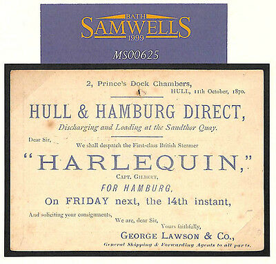 MS625 1870 October RARE EARLY GB ADVERT CARD Hamburg Steamer *Harlequin* Hull