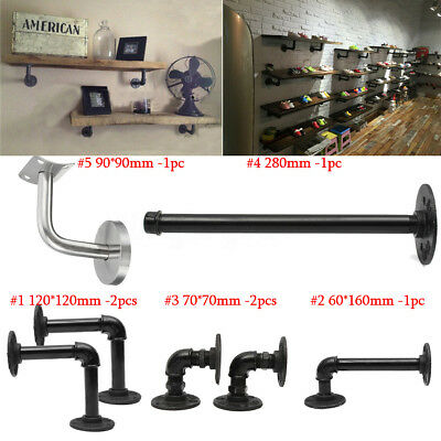6 Types Iron Steampunk Industrial Steel Pipe Shelf Bracket Holder DIY Decor