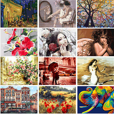 Various DIY Oil Art Painting By Number Kit Home Deocr Wall Pictures On Linen New