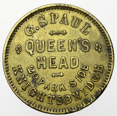 London Knightsbridge ~ Queens Head Token G Spaul ~ Inn, Pub, Tavern Check, Tally