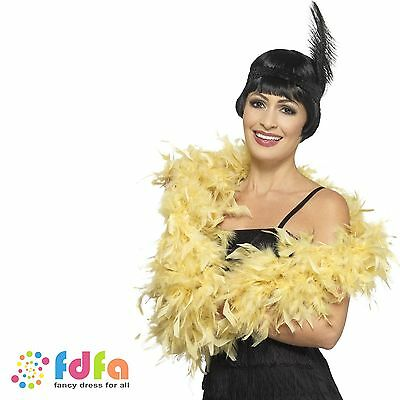 GOLD DELUXE FEATHER BOA 6ft HEN NIGHT Womens Ladies Fancy Dress Accessory