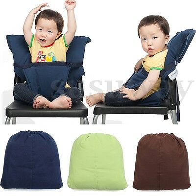 Portable Travel Infant Baby Kid Feeding High Chair Seat Cover Belt Straps Safety