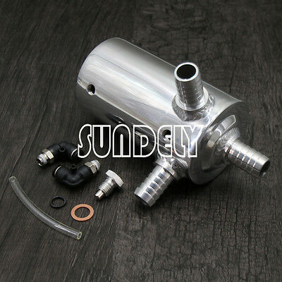 0.5L Baffled Polished Oil Catch Can Breather Tank Reservoir With 19mm 3/4 Inlets