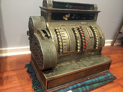 NATIONAL Antique Brass and Nicke Cash Register Excellent Condition 1895 Circa