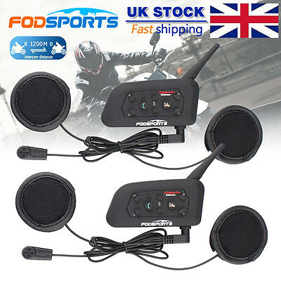 New 2x V6 pro 1200M BT Motorcycle Interphone Bluetooth Intercom Helmet Headset