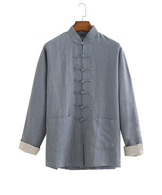 Mens Vintage Chinese Style Cotton Linen Tang Coat Flax Tang Suit Kung Fu Jacket