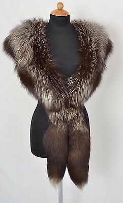 US843 Natural Real silver Fox Collar for Jacket Coat Fox Shawl Vintage