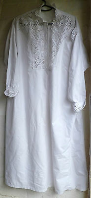 Exquisite Snowy White  Antique VICTORIAN Nightgown Early Australian
