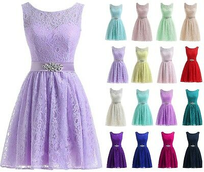 Formal Short Evening prom Party Ball Gown dress Bridesmaid Dress Size 6-20