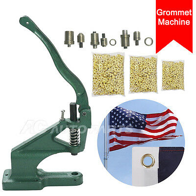 Grommet Machine 3 Die (#0 #2 #4) & 1500 Grommets Eyelet Hand Press Tool Banner