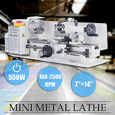 "7"" x 14""Mini Metal Lathe Machine 550W Variable Speed 0-2500 RPM Iron Body"