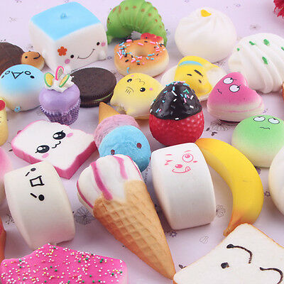 10Pcs Soft Squishy Donuts Cake Bread Slow Rising Charms Squishies Toys Gift Hot